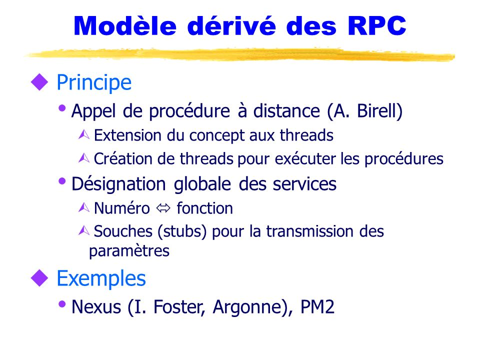 Modèle dérivé des RPC Principe Exemples