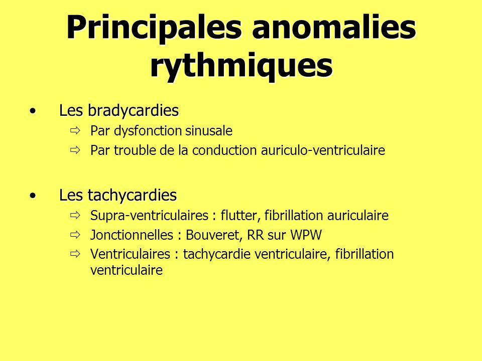 Principales anomalies rythmiques