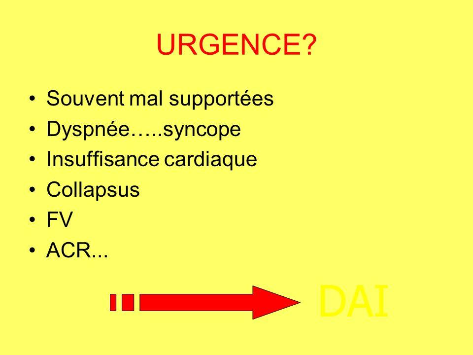 DAI URGENCE Souvent mal supportées Dyspnée…..syncope