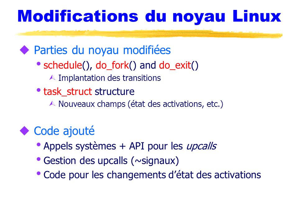 Modifications du noyau Linux