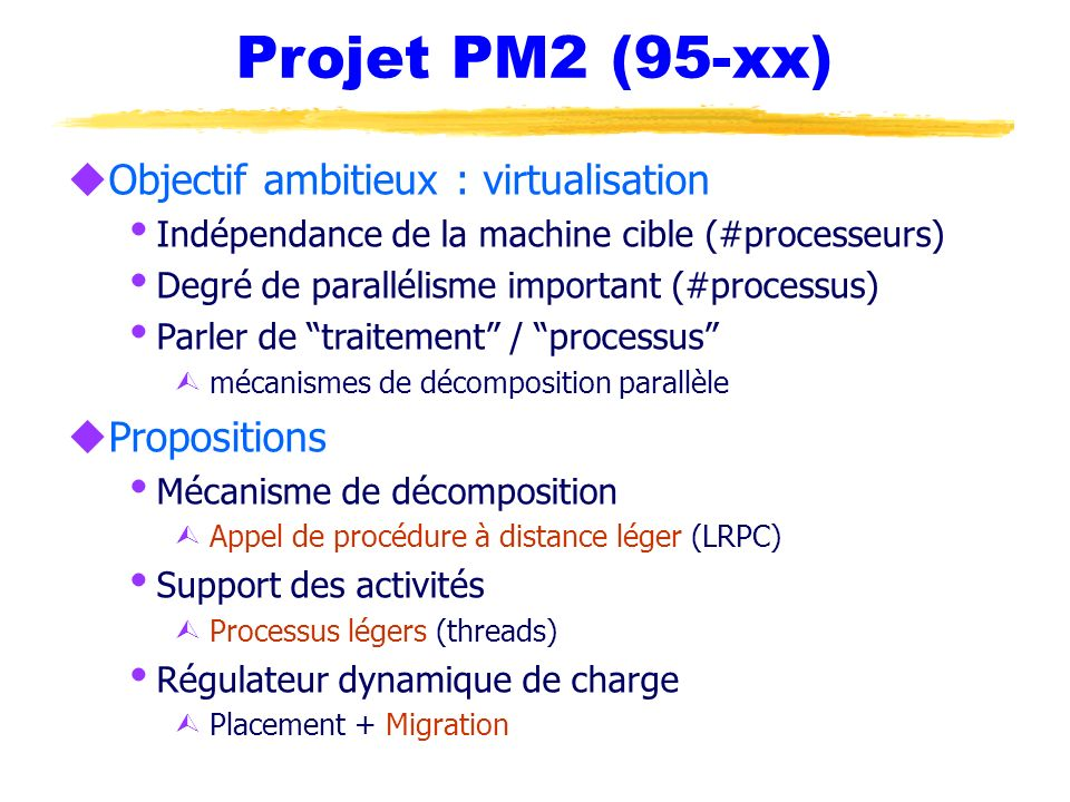 Projet PM2 (95-xx) Objectif ambitieux : virtualisation Propositions