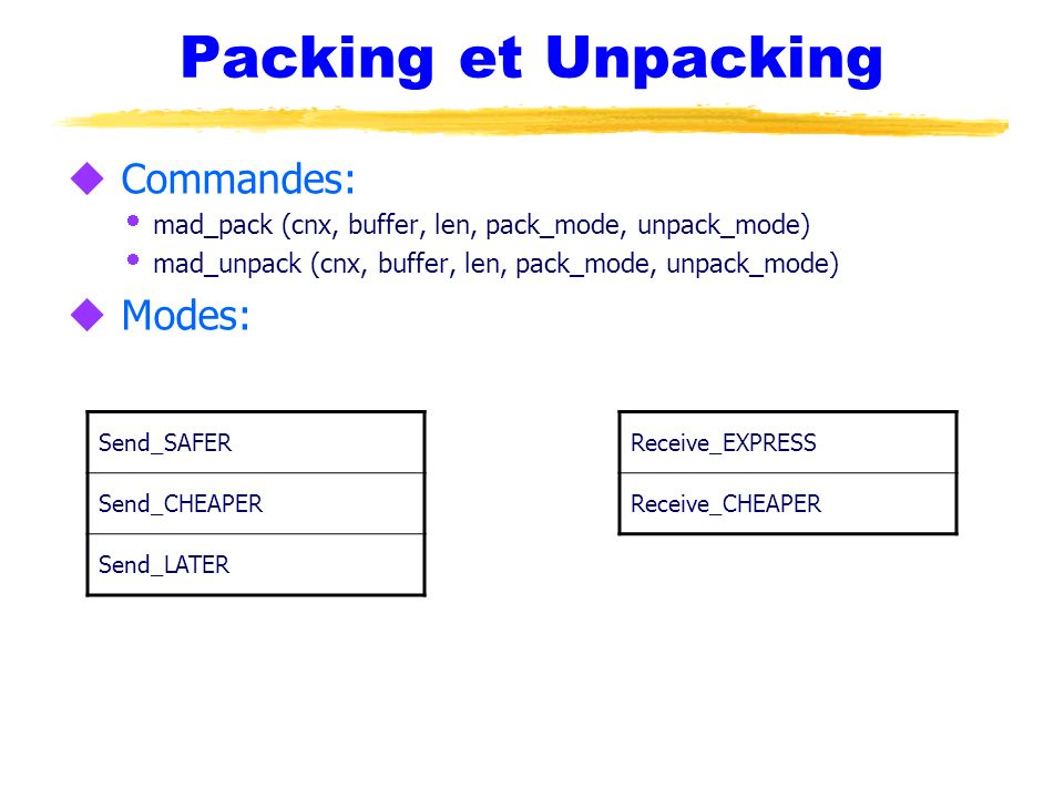 Packing et Unpacking Commandes: Modes: