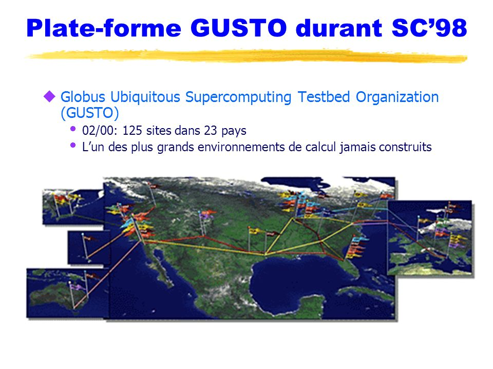 Plate-forme GUSTO durant SC'98