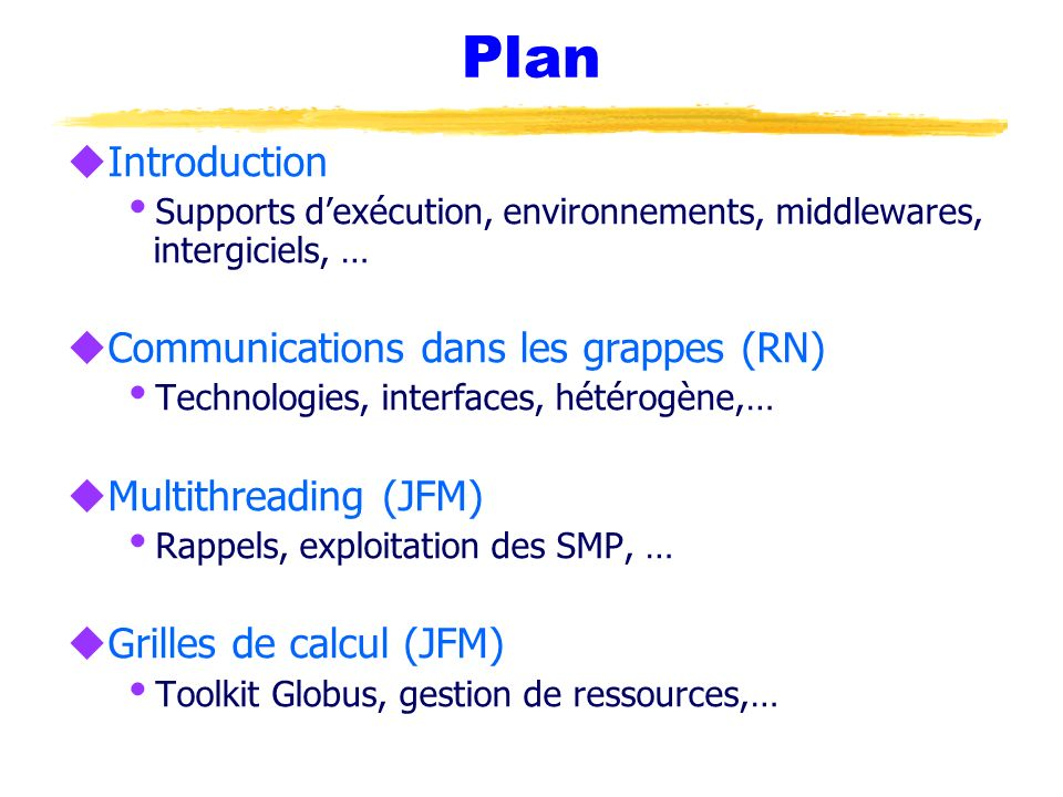 Plan Introduction Communications dans les grappes (RN)