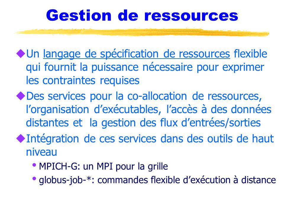 Gestion de ressources Un langage de spécification de ressources flexible qui fournit la puissance nécessaire pour exprimer les contraintes requises.