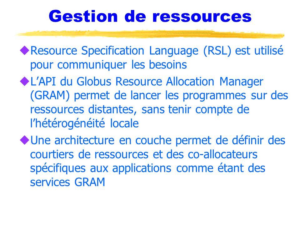 Gestion de ressources Resource Specification Language (RSL) est utilisé pour communiquer les besoins.