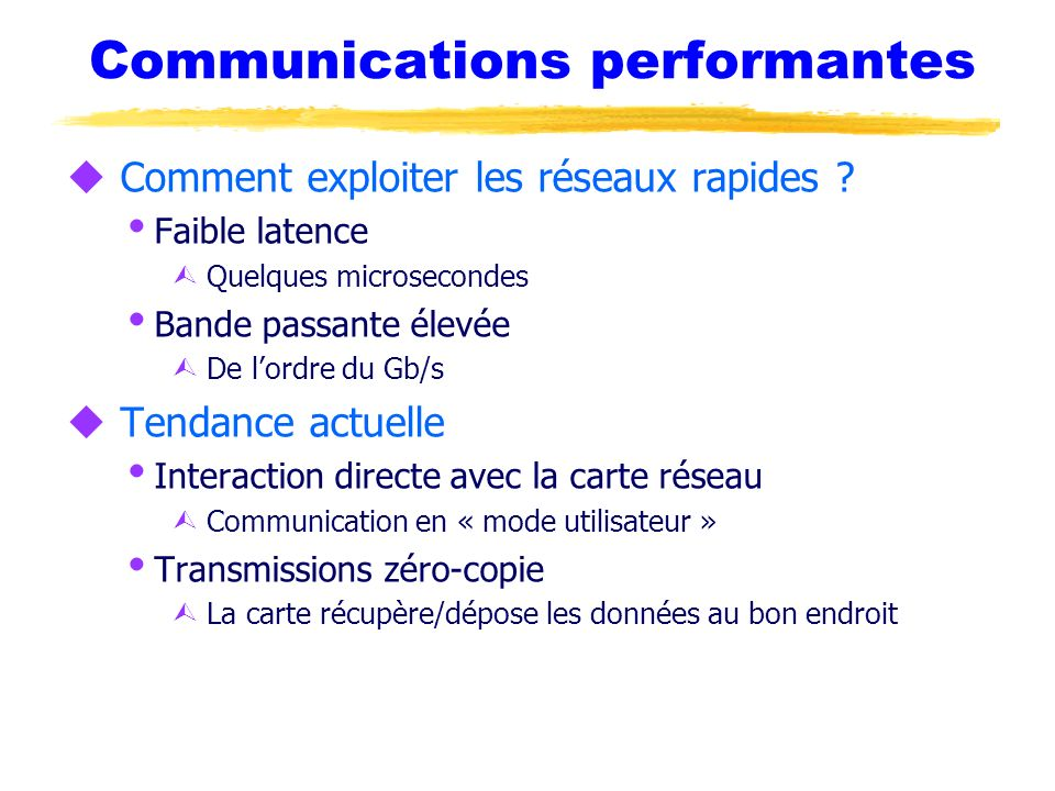 Communications performantes
