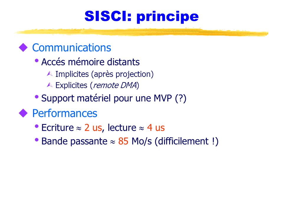 SISCI: principe Communications Performances Accés mémoire distants