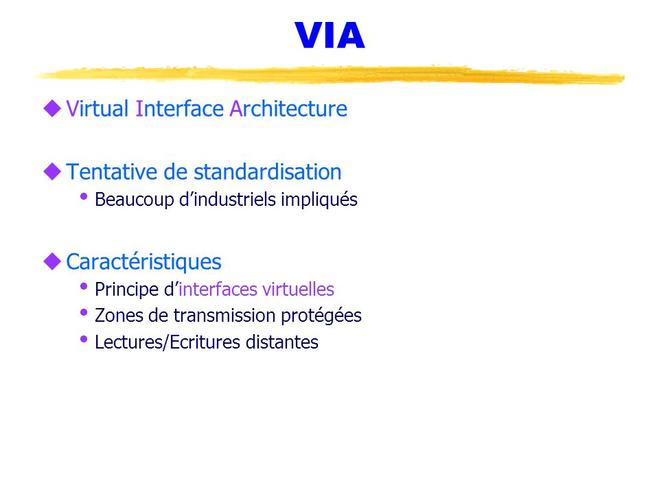 VIA Virtual Interface Architecture Tentative de standardisation