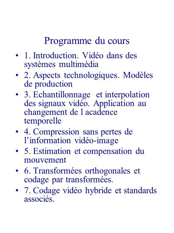 Programme du cours 1. Introduction. Vidéo dans des systèmes multimédia