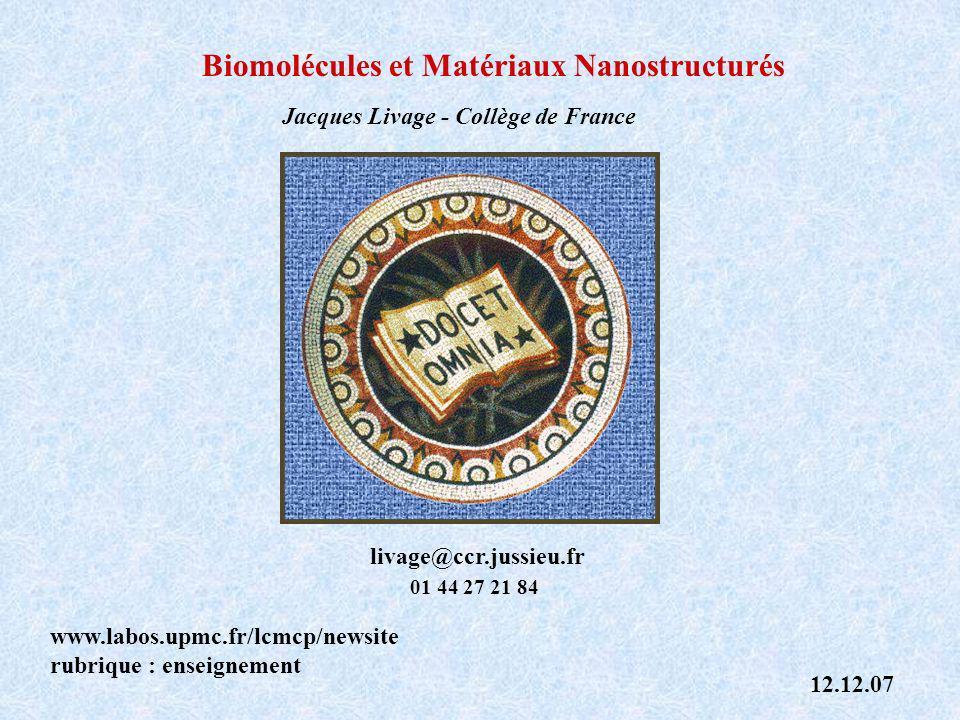 Biomolécules et Matériaux Nanostructurés