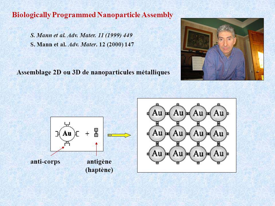 Assemblage 2D ou 3D de nanoparticules métalliques