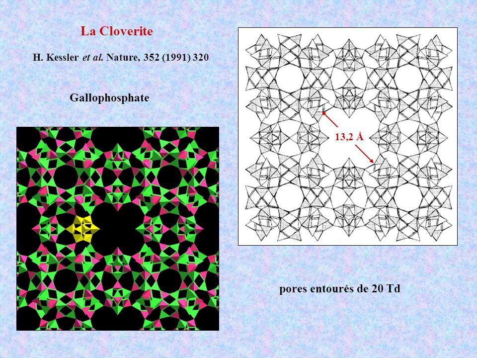La Cloverite Gallophosphate pores entourés de 20 Td
