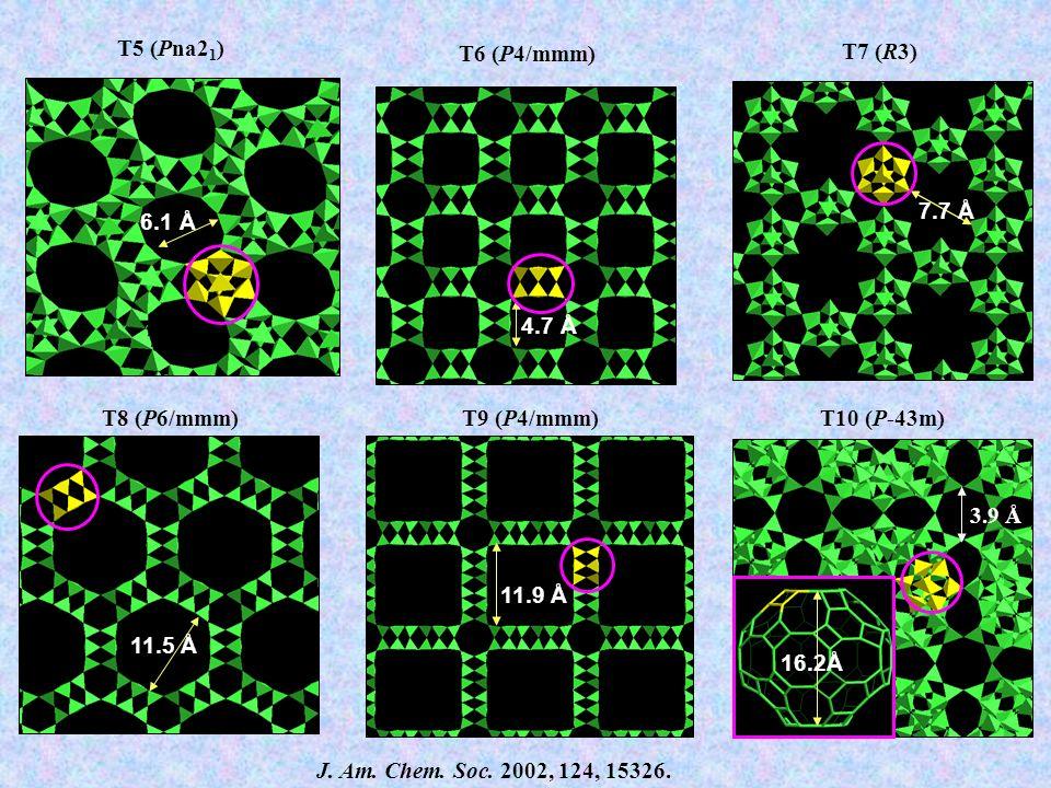 T5 (Pna21) 6.1 Å. 7.4 Å. T6 (P4/mmm) 4.7 Å. T7 (R3) 7.7 Å. T8 (P6/mmm) 11.5 Å. T9 (P4/mmm) T10 (P-43m)