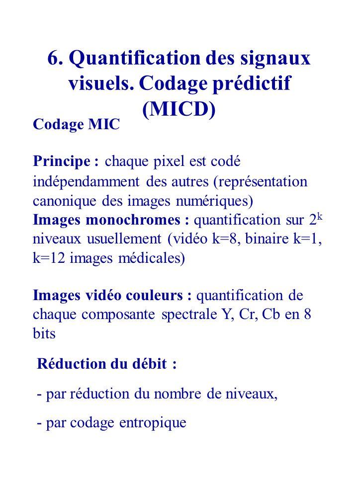 6. Quantification des signaux visuels. Codage prédictif (MICD)