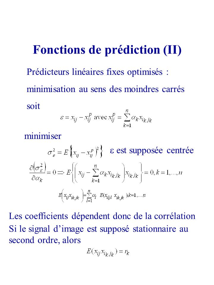 Fonctions de prédiction (II)