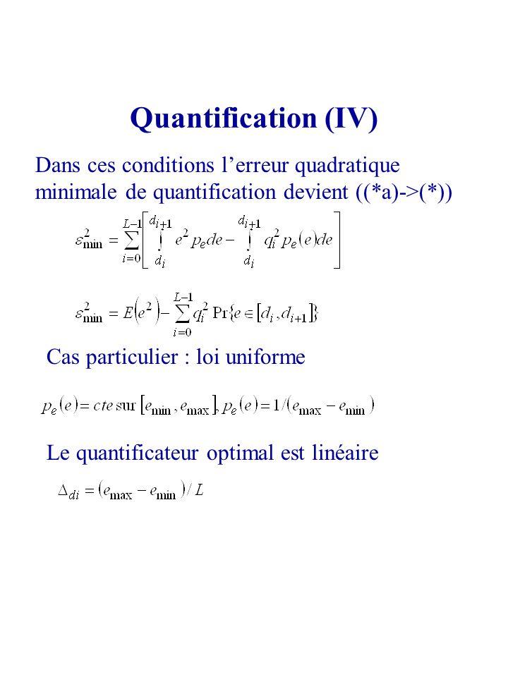 Quantification (IV) Dans ces conditions l'erreur quadratique minimale de quantification devient ((*a)->(*))