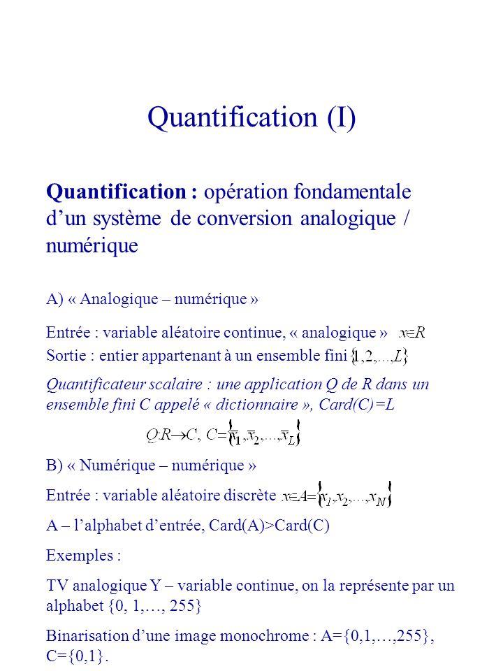 Quantification (I) Quantification : opération fondamentale d'un système de conversion analogique / numérique.