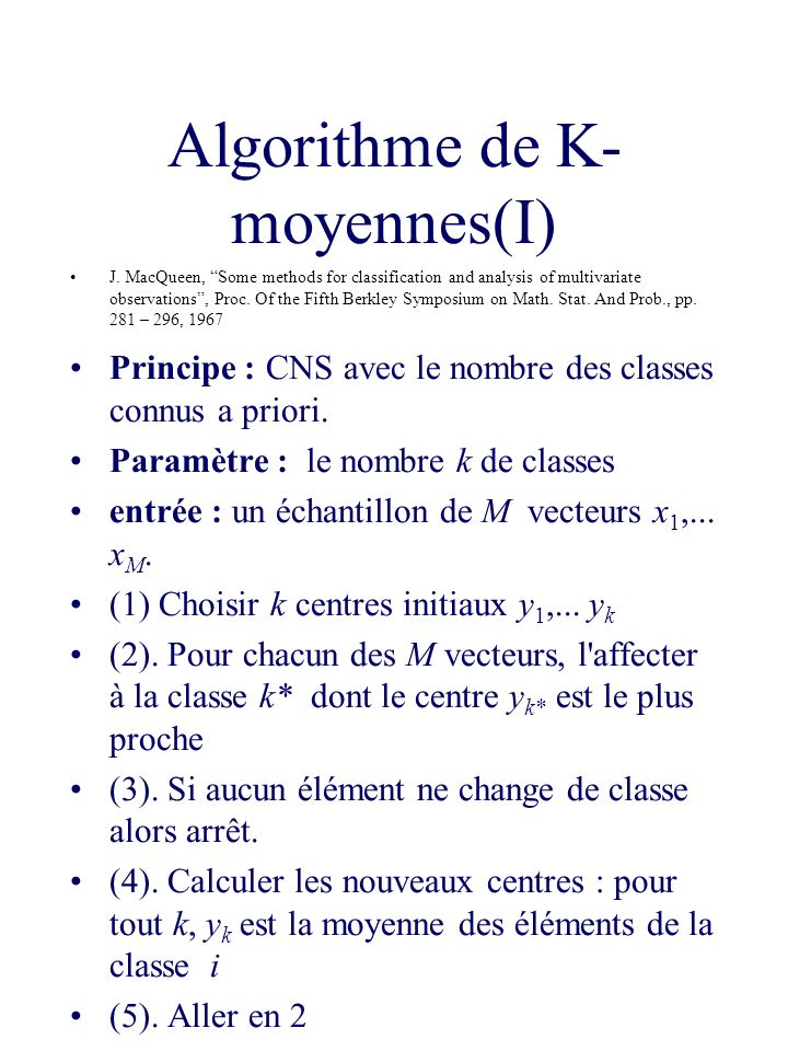 Algorithme de K-moyennes(I)