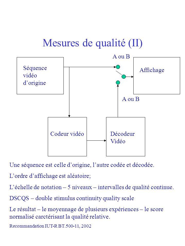 Mesures de qualité (II)