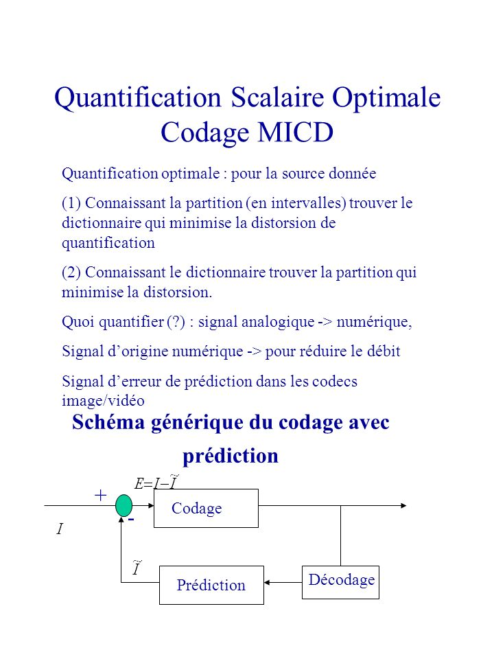 Quantification Scalaire Optimale Codage MICD