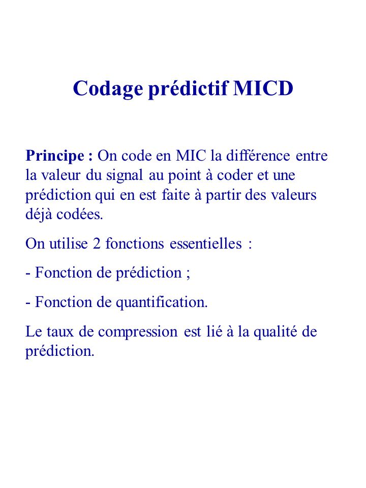 Codage prédictif MICD