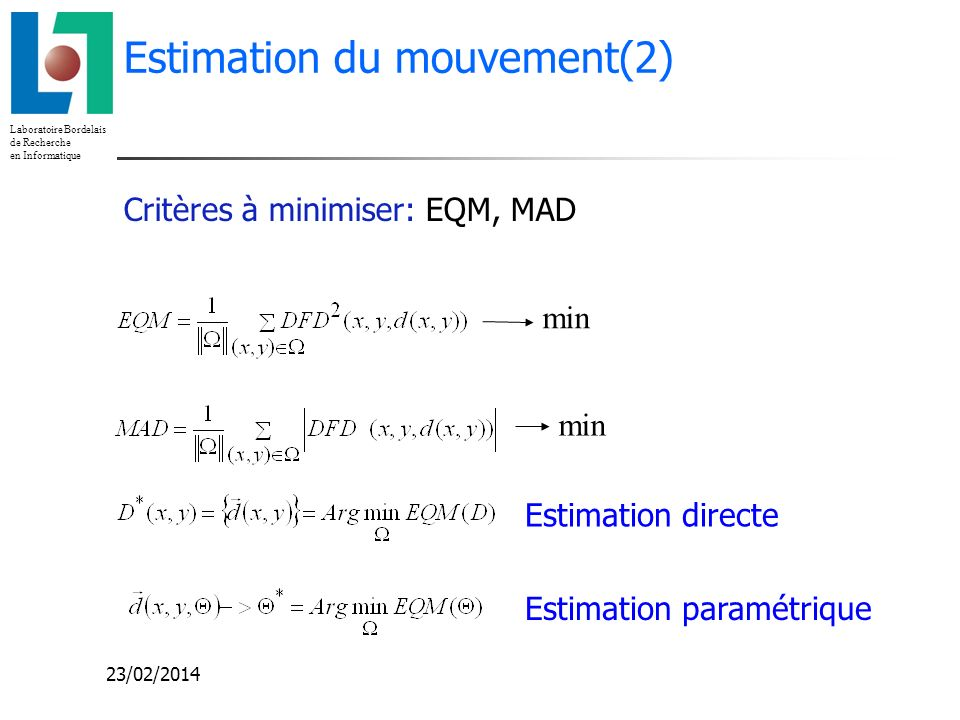 Estimation du mouvement(2)