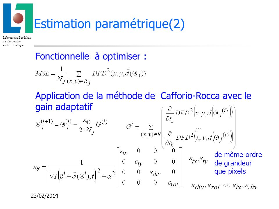 Estimation paramétrique(2)