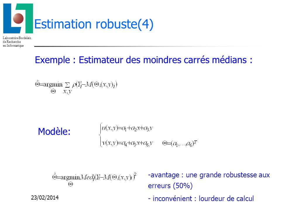 Estimation robuste(4) Exemple : Estimateur des moindres carrés médians : Modèle: avantage : une grande robustesse aux erreurs (50%)