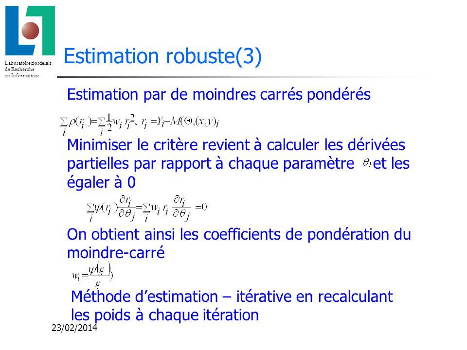 Estimation robuste(3) Estimation par de moindres carrés pondérés