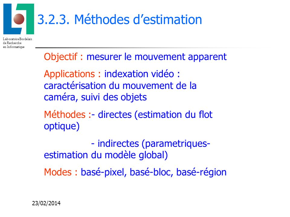3.2.3. Méthodes d'estimation