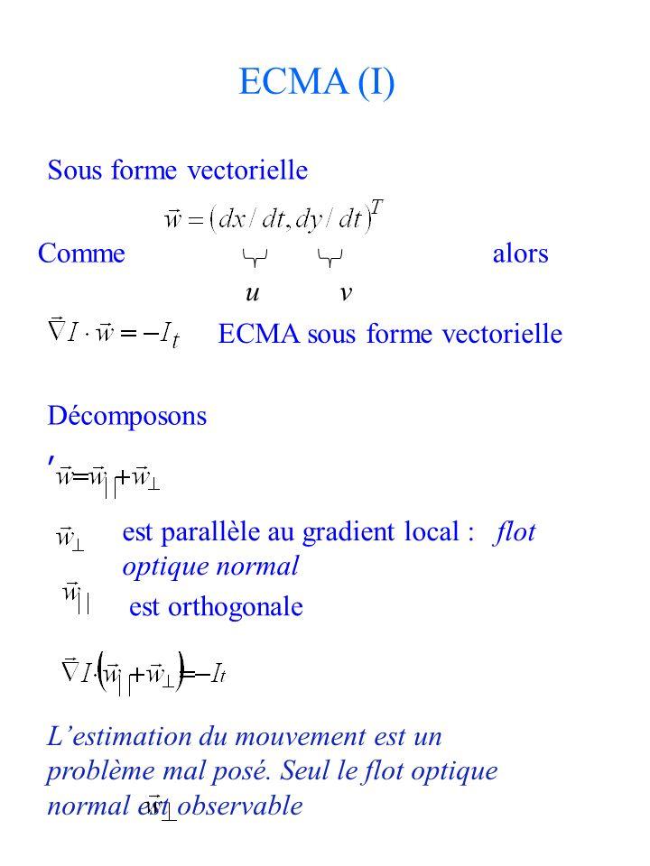 ECMA (I) Sous forme vectorielle Comme alors u v