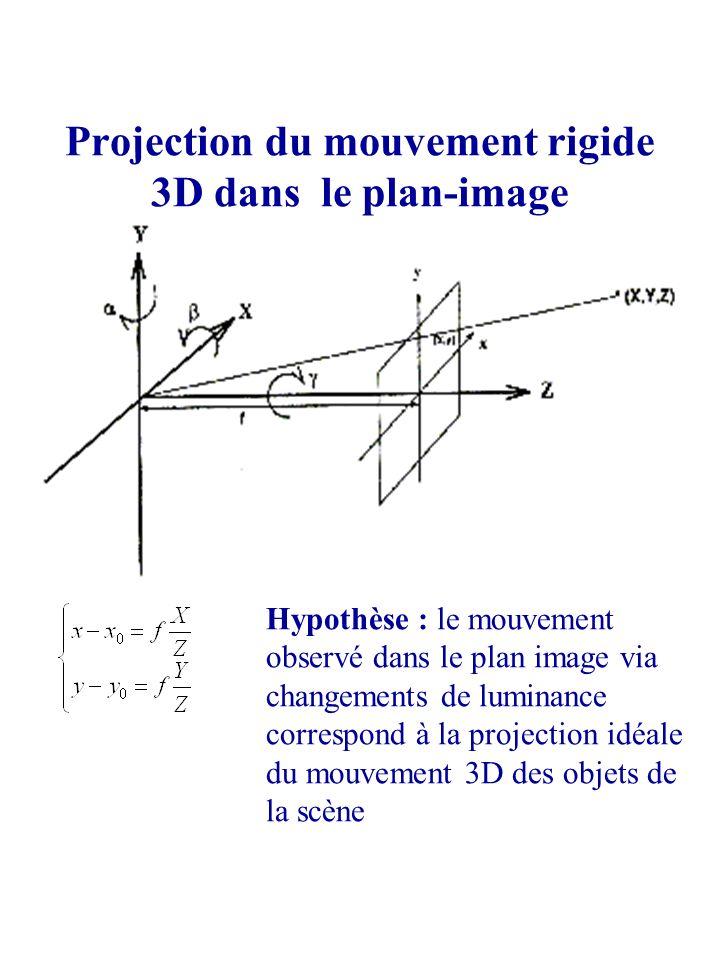 Projection du mouvement rigide 3D dans le plan-image