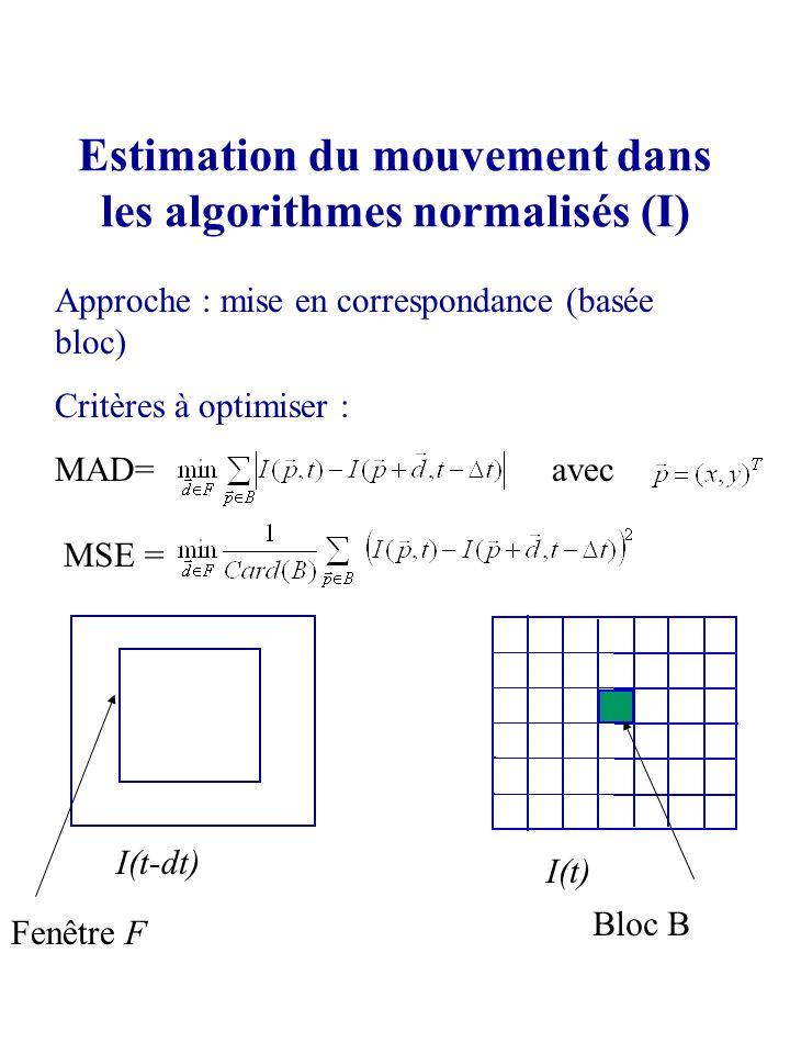 Estimation du mouvement dans les algorithmes normalisés (I)