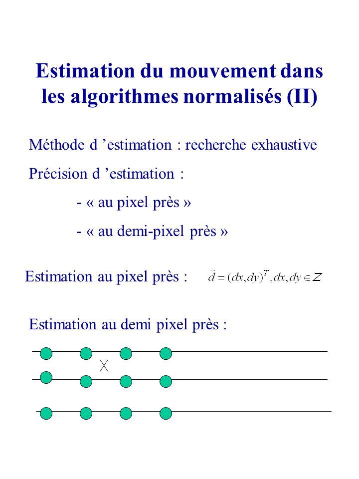 Estimation du mouvement dans les algorithmes normalisés (II)