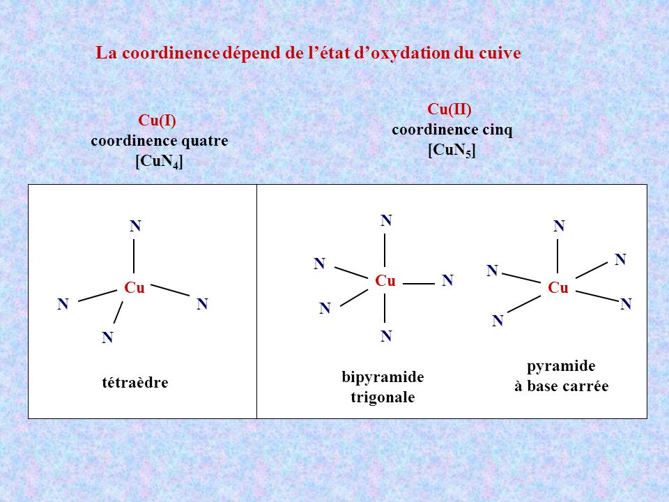 La coordinence dépend de l'état d'oxydation du cuive