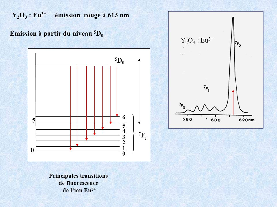 Y2O3 : Eu3+ émission rouge à 613 nm Principales transitions