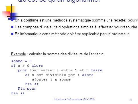 Qu est-ce qu un algorithme