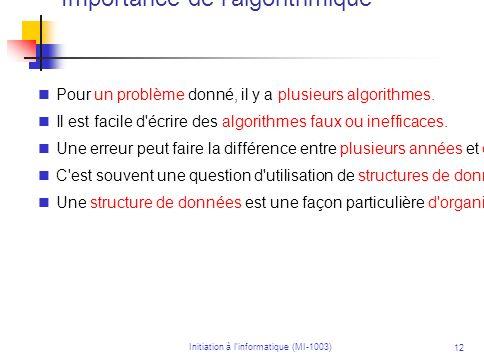 Importance de l algorithmique