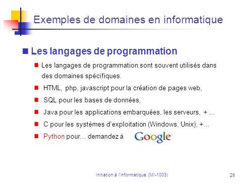 Exemples de domaines en informatique