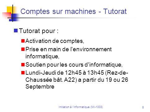 Comptes sur machines - Tutorat