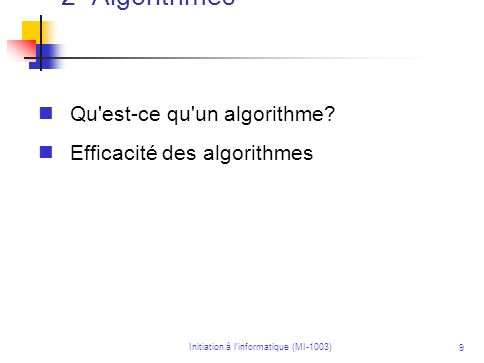 Initiation à l'informatique (MI-1003)