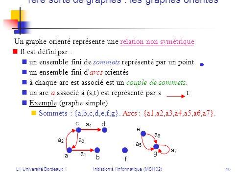 1ère sorte de graphes : les graphes orientés