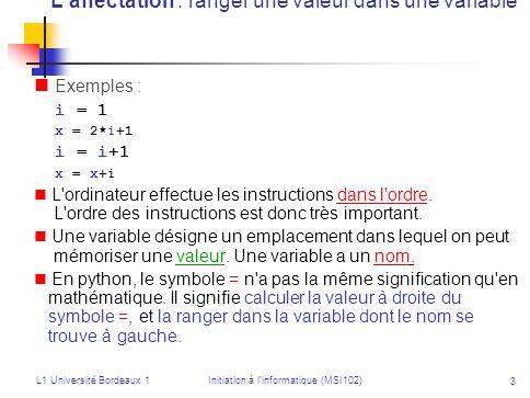 L'affectation : ranger une valeur dans une variable
