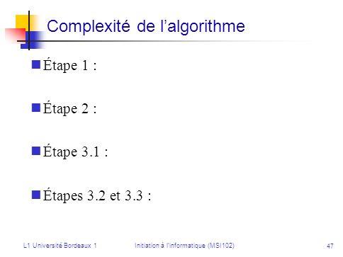 Complexité de l'algorithme