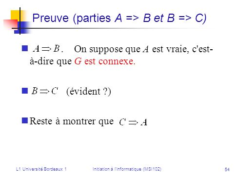 Preuve (parties A => B et B => C)