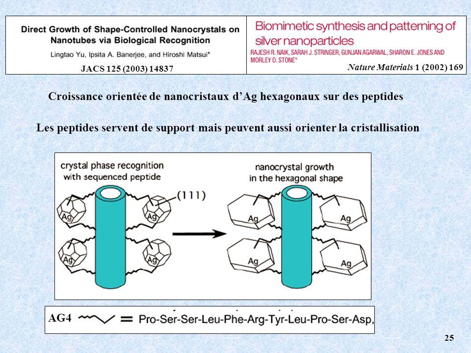 Croissance orientée de nanocristaux d'Ag hexagonaux sur des peptides