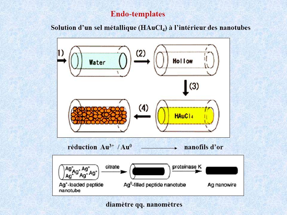 Endo-templates Solution d'un sel métallique (HAuCl4) à l'intérieur des nanotubes. réduction Au3+ / Au0 nanofils d'or.