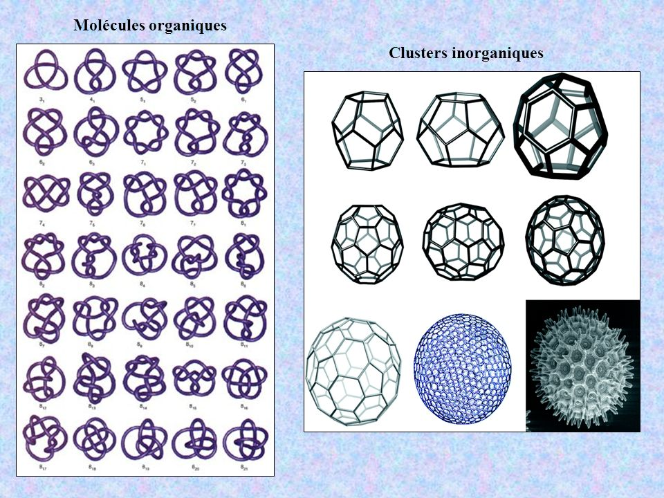 Molécules organiques Clusters inorganiques