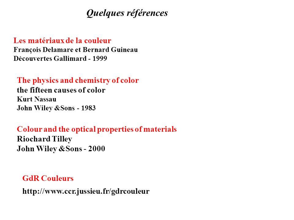 Quelques références Les matériaux de la couleur
